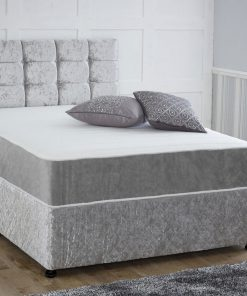 Silver Crushed Velvet Divan Bed with Headboard, Mattress and drawers storage at very cheap price