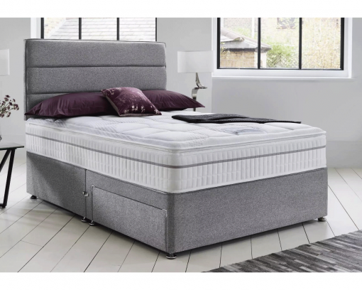 grey linen look divan bed with headboard, drawers and mattress, grey suede fabric