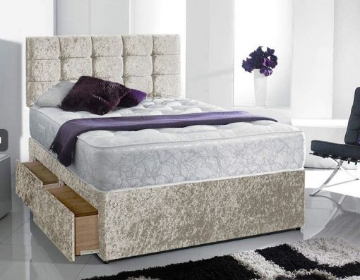 fioannca lee mink crushed velvet bed with drawers, headboard and mattress