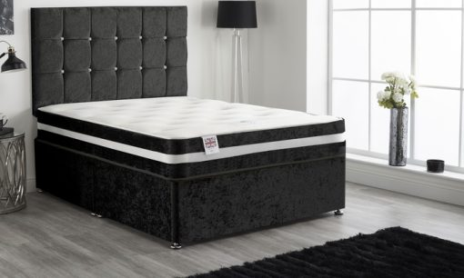 OGER 5FT Black Crushed Velvet Divan Bed Set 1
