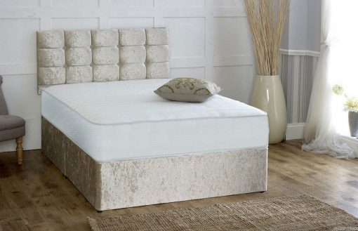 Champagne Crushed Velvet 4FT Small Double Divan Bed 1