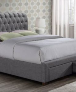 SIMONE VALENTINO GREY FABRIC BED FRAME WITH DRAWERS 5