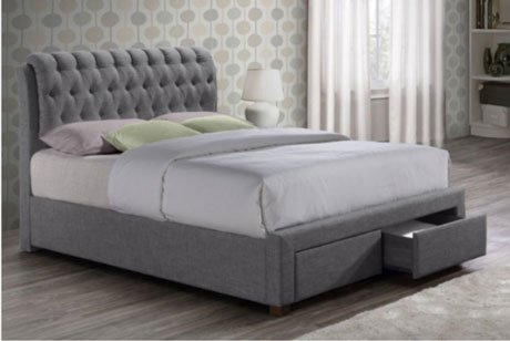 SIMONE VALENTINO GREY FABRIC BED FRAME WITH DRAWERS 3