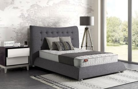 Alfonsina Fabric Sleigh Bed With Mattress & Storage 1