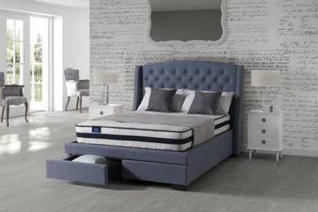 ANNUNZIATA SOVEREIGN FABRIC SLEIGH BED WITH DRAWERS 1