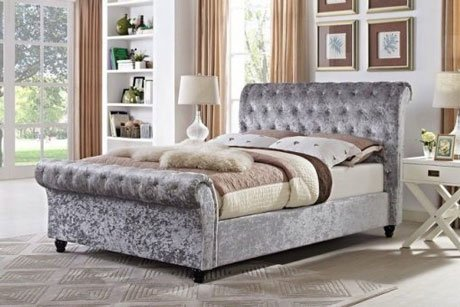 MARIANO CHESTERFIELD UPHOLSTERED FABRIC SLEIGH BED 2