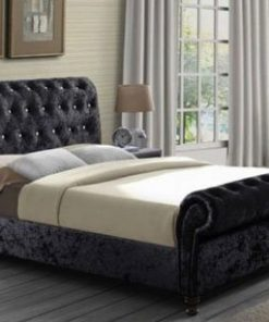 MARIANO CHESTERFIELD UPHOLSTERED FABRIC SLEIGH BED 7