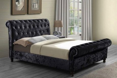 MARIANO CHESTERFIELD UPHOLSTERED FABRIC SLEIGH BED 3