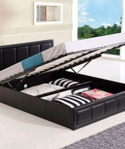 Perla Italian Faux Leather Bed with Storage Option 4
