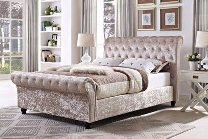MARIANO CHESTERFIELD UPHOLSTERED FABRIC SLEIGH BED 1