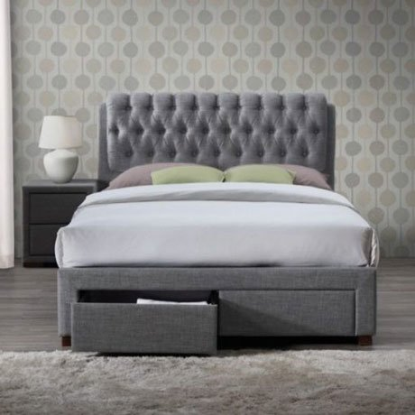 SIMONE VALENTINO GREY FABRIC BED FRAME WITH DRAWERS 1