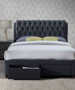 SIMONE VALENTINO GREY FABRIC BED FRAME WITH DRAWERS 4