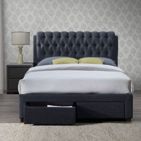 SIMONE VALENTINO GREY FABRIC BED FRAME WITH DRAWERS 2