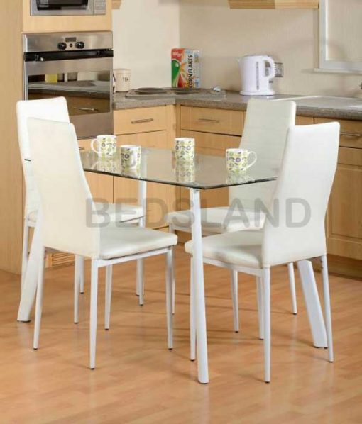 Abbey Dining Set in Clear Glass Faux Leather 1