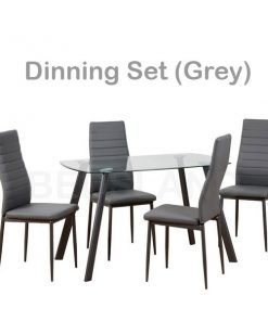 Abbey Dining Set in Clear Glass Faux Leather 9