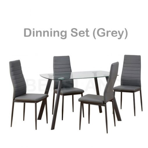 Abbey Dining Set in Clear Glass Faux Leather 4