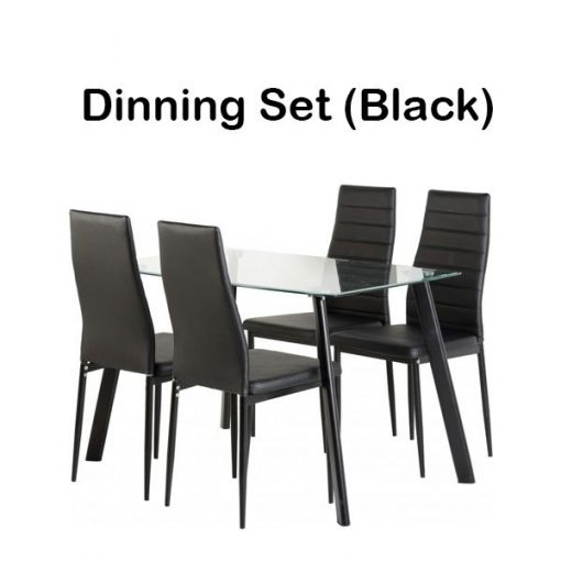 Abbey Dining Set in Clear Glass Faux Leather 5