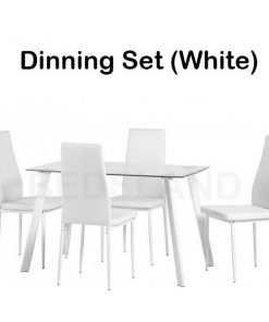 Abbey Dining Set in Clear Glass Faux Leather 11