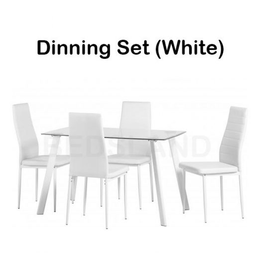 Abbey Dining Set in Clear Glass Faux Leather 6