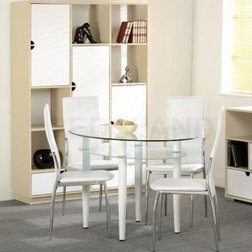 Berkley Dining Table Set in Clear Glass White Faux Leather 1