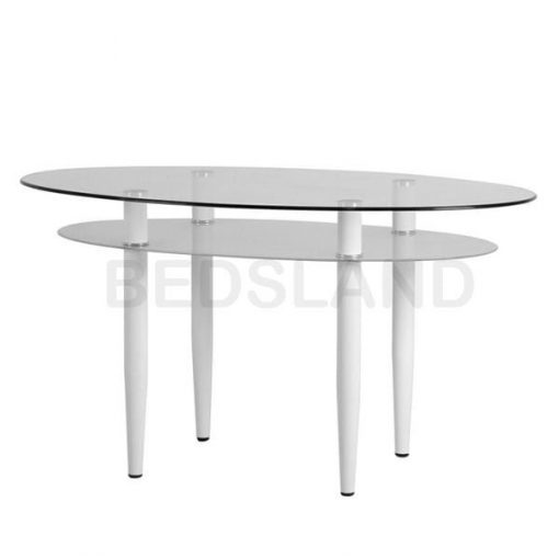 Berkley Dining Table Set in Clear Glass White Faux Leather 3