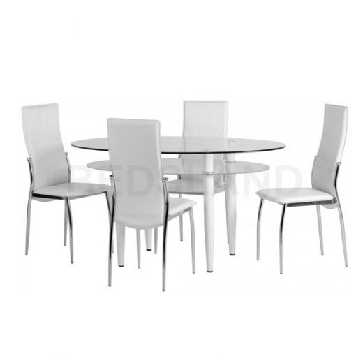 Berkley Dining Table Set in Clear Glass White Faux Leather 4
