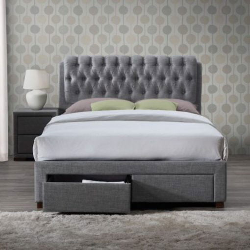 Aisley Modern Fabric Upholstered Sleigh Bed 2