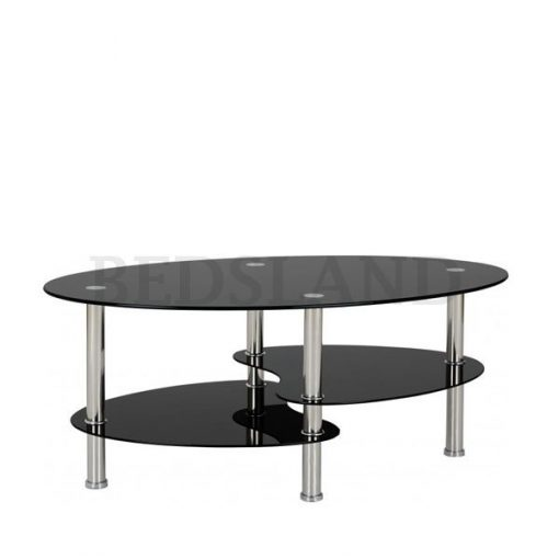 Cara Coffee Table in Black Glass/Silver 1