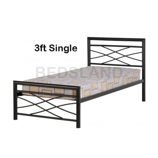 Med Kelly Metal Frame Bed Double & Single With Mattress 1