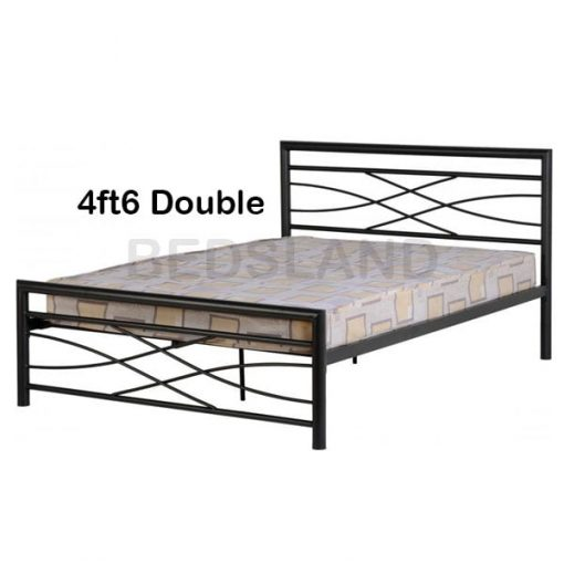 Med Kelly Metal Frame Bed Double & Single With Mattress 2