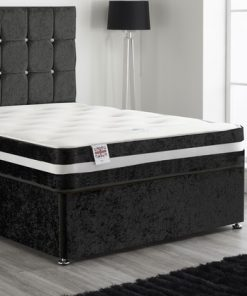 YXNG BANE 4FT6 Double Black Crushed Velvet Divan Storage Bed 3