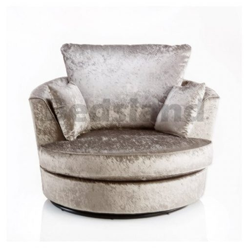 Angelina Henny Mink Crushed Velvet Swivel Chair 1