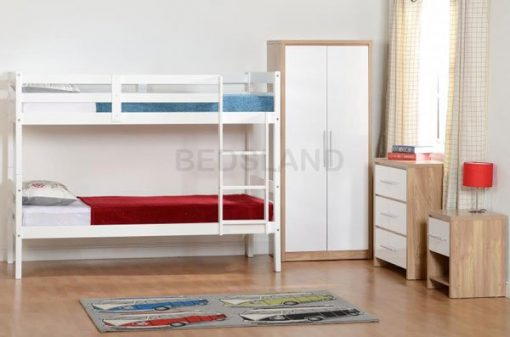 Med Panama  Bunk Wooden Bed Set With Mattress 2