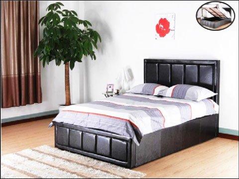 Perla Italian Faux Leather Bed with Storage Option 1