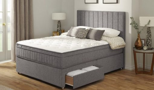 ALLIED Grey Suede King Size Divan Bed 1