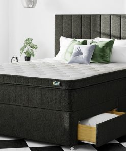 Charcoal Chenille Fabric Divan Bed Set With Headboard & Mattress 3