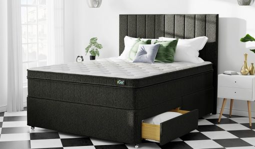 New Design Chenille Fabric Divan Bed With Orthopedic Mattress 1