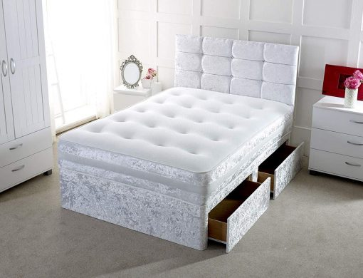 FURIOUS Silver Crushed Velvet Divan Bed with Drawers 1