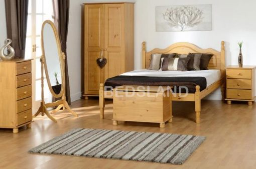 Med Sol Double Wooden Bed Set With Mattress 2